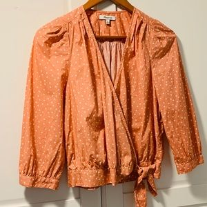 Madewell Star Scatter Wrap Top Peach Medium